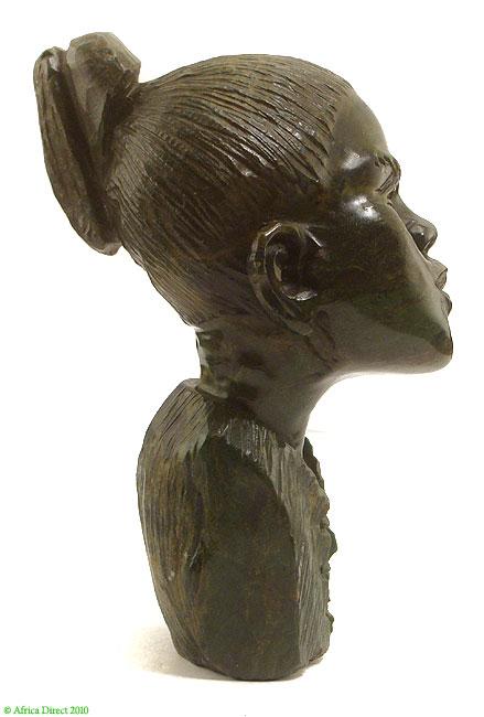 Verdite shona stone bust of woman zimbabwe africa