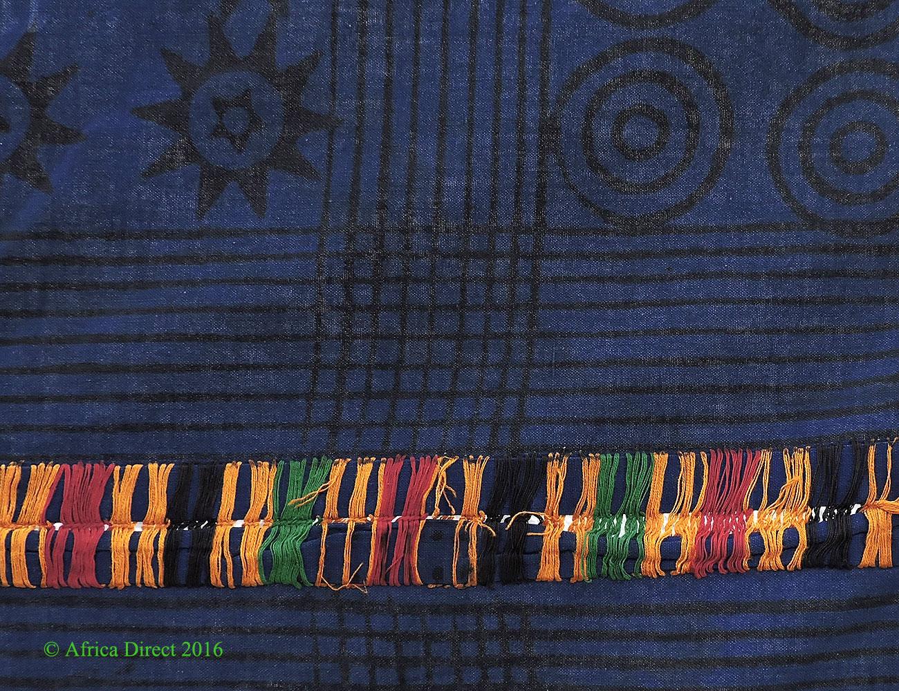 adinkra stamped cloth blue asante ghana 10x7 feet african african