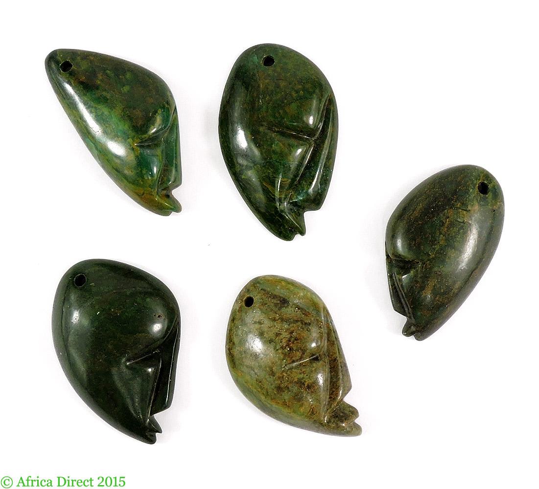 Shona pendants verdite stone abstract faces zimbabwe