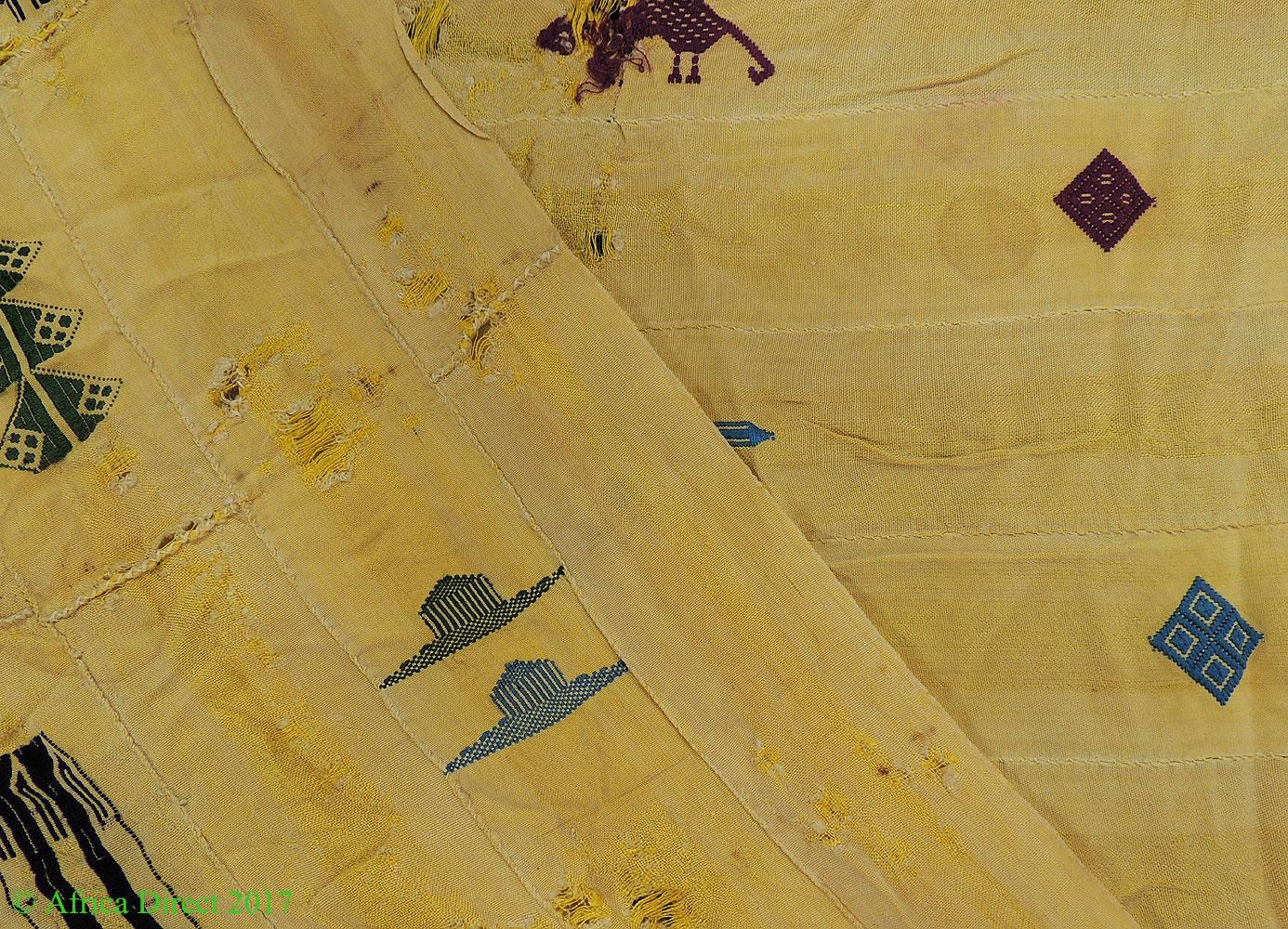 Ewe Silk Cloth Yellow Textile Embroidered Symbols Togo African Art