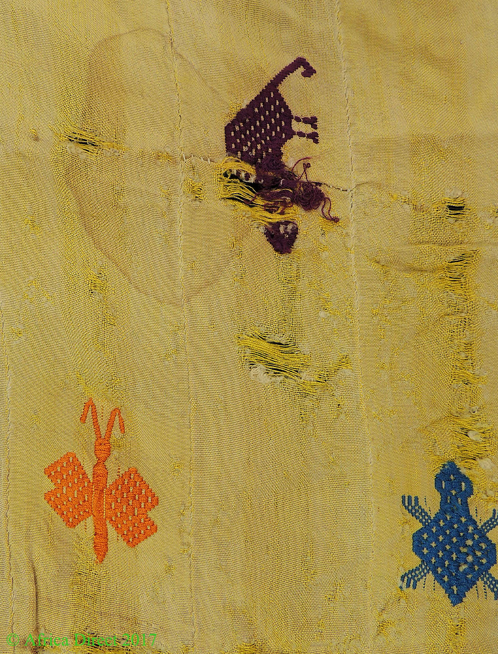 Ewe Silk Cloth Yellow Textile Embroidered Symbols Togo African Art ...