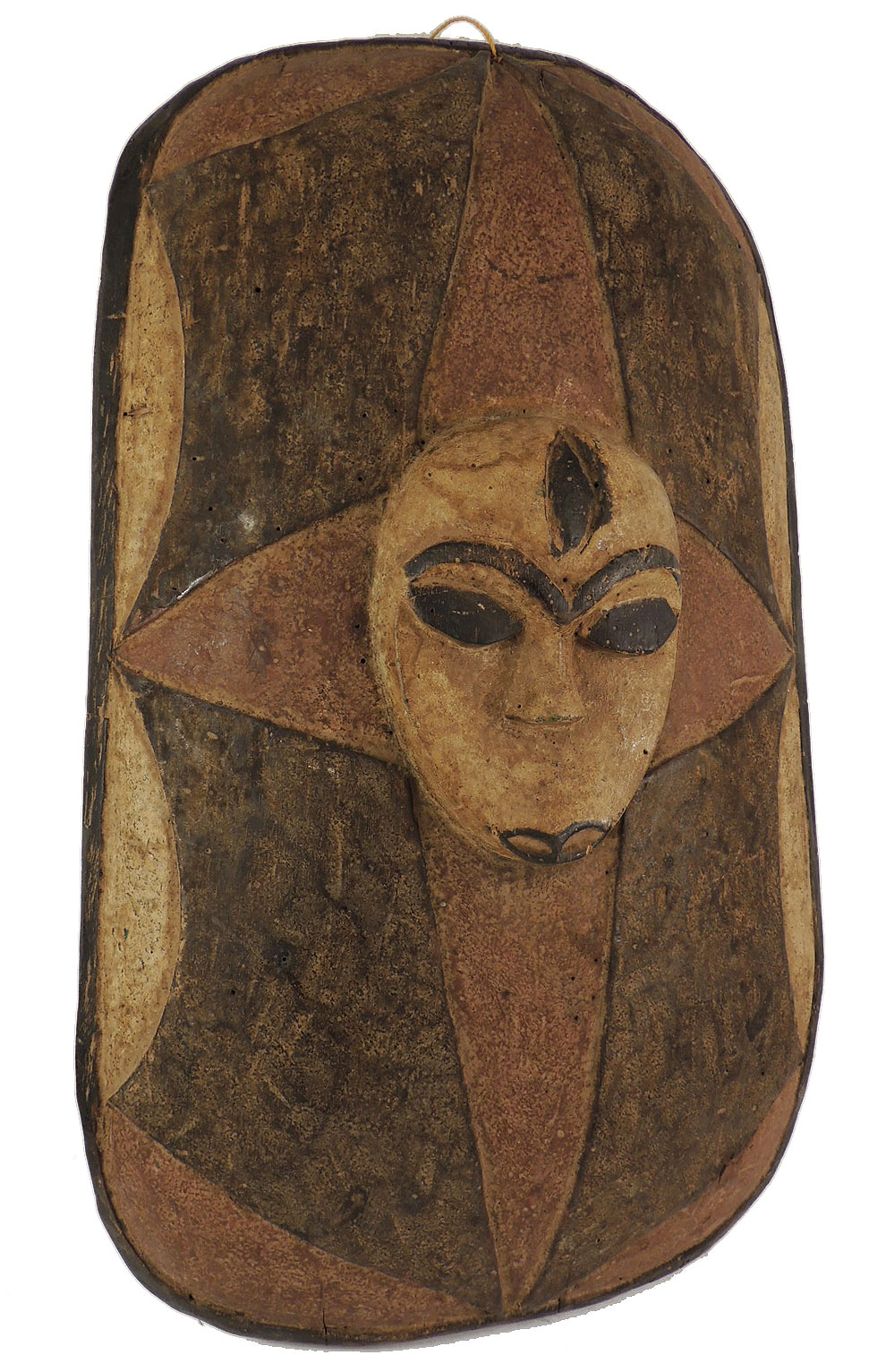 Fon Shield Wood with Mask Face Benin African Art - Shields - Metal