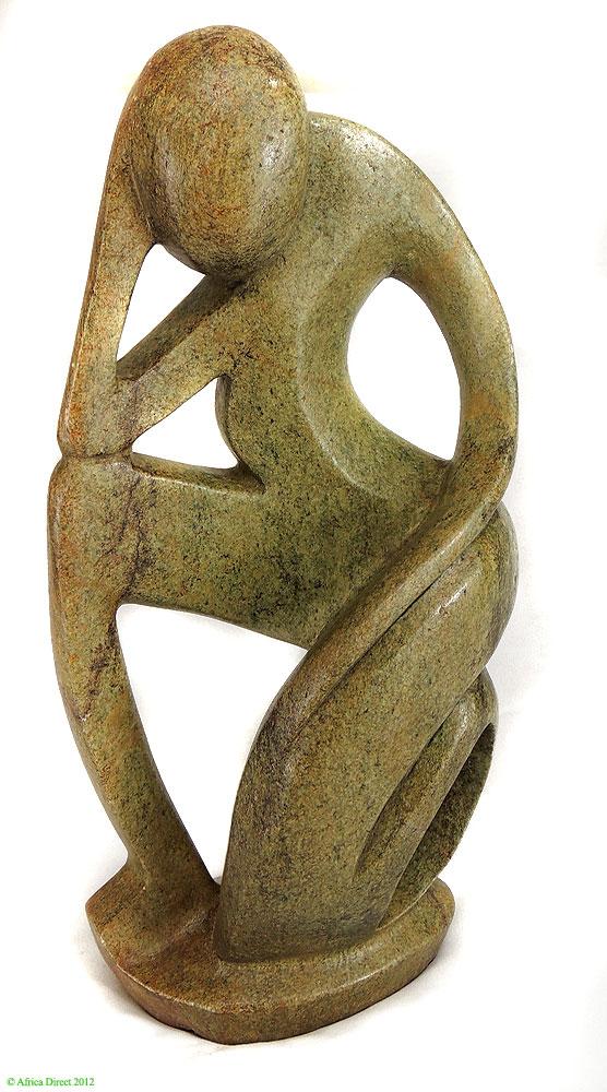 Shona stone sculpture thinker zimbabwe inch africa