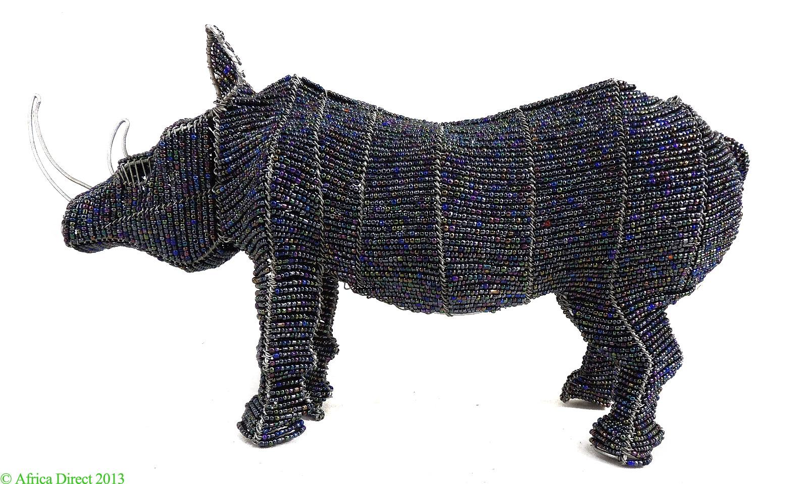 Rhinoceros Beaded Wire Sculpture Zimbabwe African Art - African Beadwork