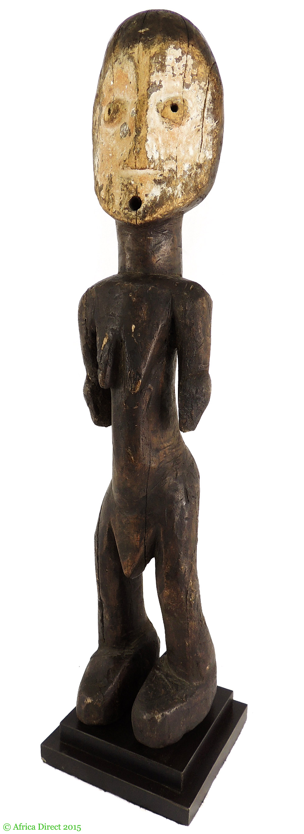 Lega standing male white face congo african art