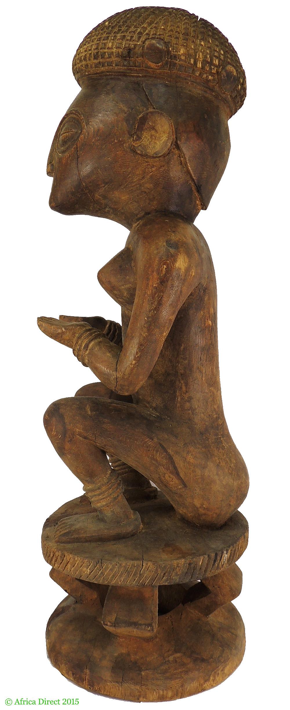 Chokwe seated female ancestor figure angola inch africa