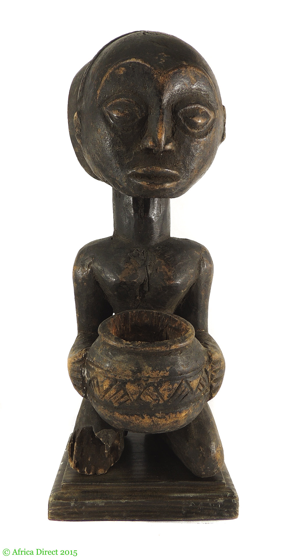 Hemba kneeling female with bowl congo african art